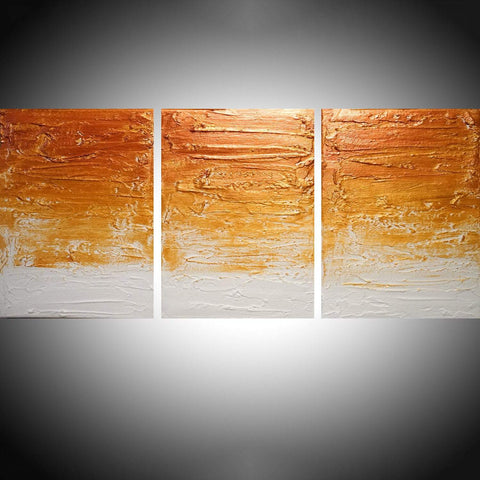 "triptych paintings on canvas, original and metallic "" Gold State """