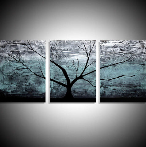 "triptych paintings on canvas, original  "" Turquoise Woods ""  3 big sizes"