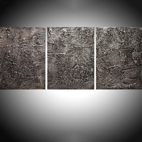 "triptych paintings on canvas "" Silver Sentiment ""  in acrylic"
