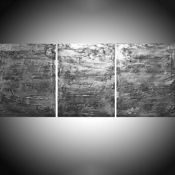 "triptych paintings on canvas  "" Silver Triptych ""  3 big sizes in acrylic,"
