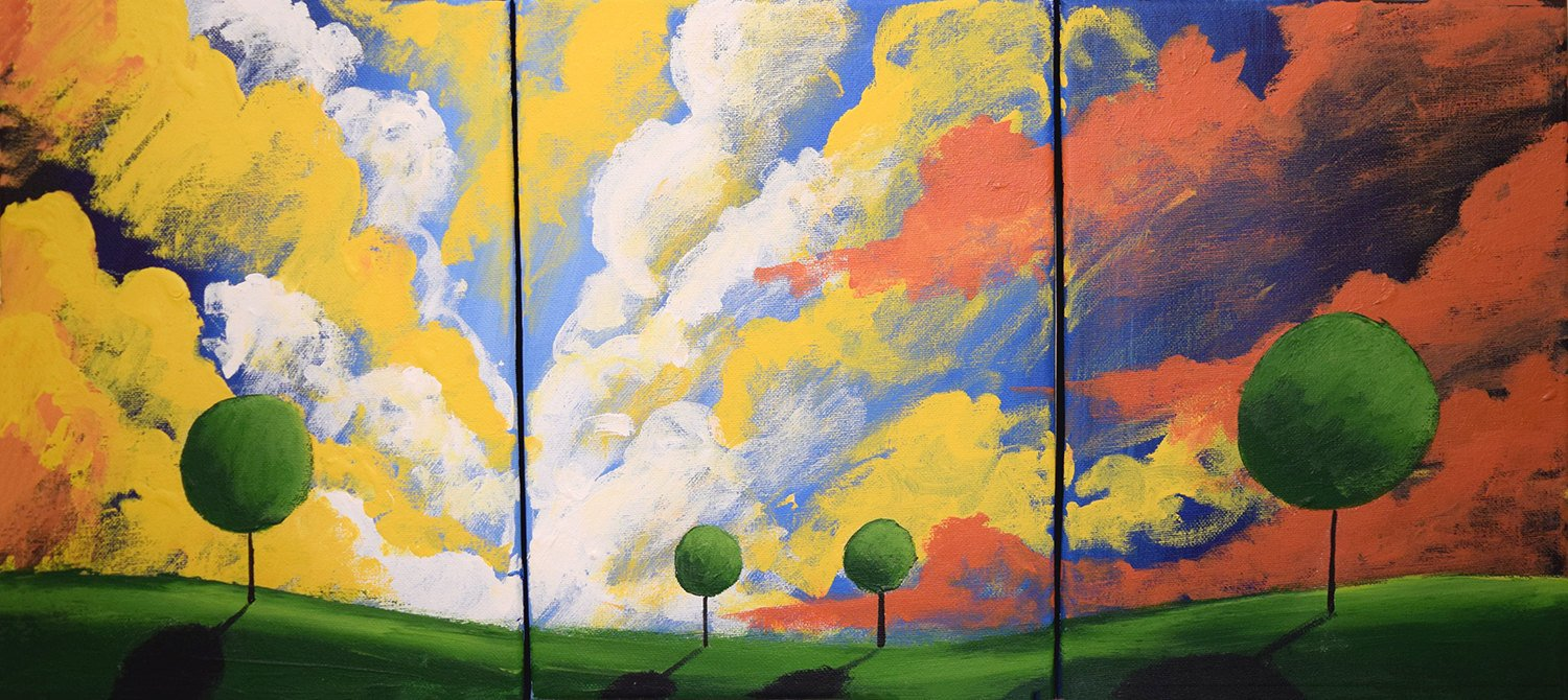 "triptych paintings on canvas, "" SunDown ""  3 big sizes in acrylic"
