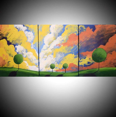 "triptych wall art "" Clouds of Colour""countryside paintings"