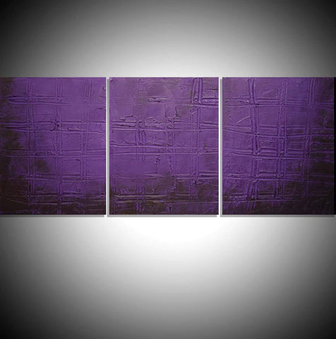 "triptych wall art "" Purple Trance "" modern art for sale"