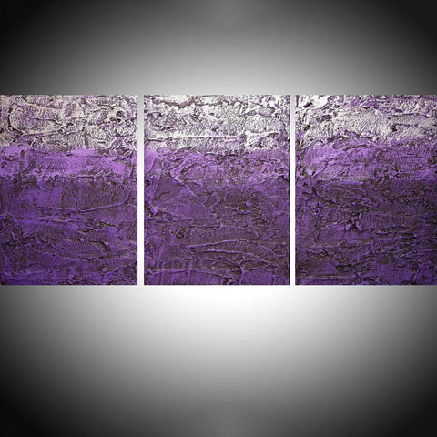 "triptych wall art "" Tones of Purple "" modern art for sale"