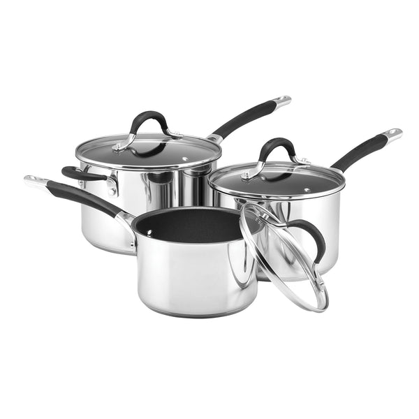 3 Piece stainless steel saucepan set from Momentum range by Circulon comes with a lifetime guarantee