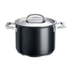 Infinite 8 piece pan set includes a non stick stockpot with stainless steel lid