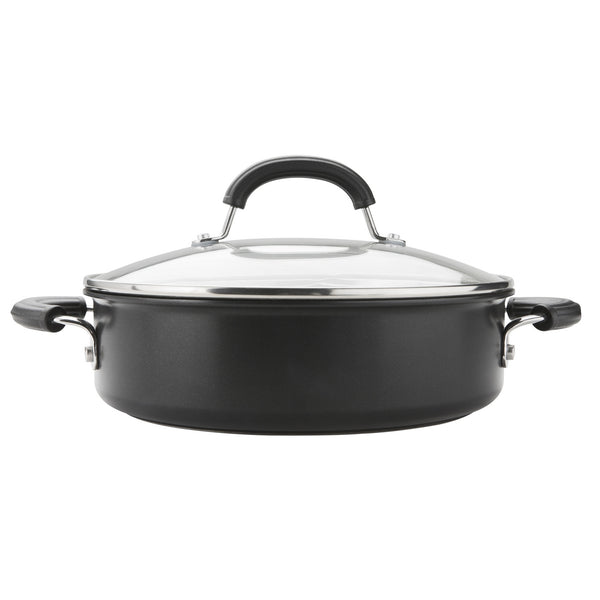 28cm non-stick sauteuse from Circulon's Total Hard Anodized range. Comes with toughened glass lid