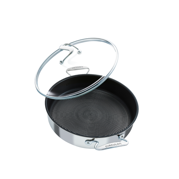 Stainless steel nonstick sauté pan from Circulon's SteelShield cookware range. Built for fearless cooking.