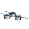 Circulon SteelShield stainless steel nonstick pan set. Three saucepans with stay cool handles. Metal utensil safe. Lifetime guarantee.