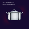 This 26cm stainless steel nonstick stockpot from SteelShield has a 7.6 litre capacity, and comes with lid and stylish stay cool handles.