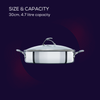This 30cm stainless steel nonstick sauté pan from SteelShield has a 4.7 litre capacity, and comes with lid and stylish stay cool handles.
