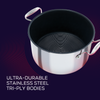 With ultra durable tri-ply body, this 26cm stainless steel nonstick stockpot is built for a lifetime of bold cooking.