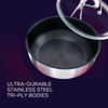 With ultra durable tri-ply body, this stainless steel nonstick frying pan is built for a lifetime of bold cooking.