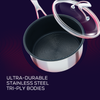 Circulon SteelShield stainless steel nonstick pan set with lids. Three saucepans with stay cool handles & durable tri-ply bodies, built for bold cooking.