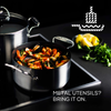 Steelshield's stainless steel nonstick stock pot is metal utensil safe and scratch resistant.