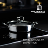 Steelshield's stainless steel nonstick sauteuse is metal utensil safe and scratch resistant.