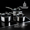 Metal utensils? Bring it on with Circulon's Steelshield stainless steel nonstick saucepan set.
