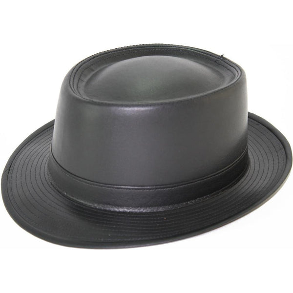 Henschel Leather Porkpie BLACK / M, Hats - HENSCHEL, Levine Hat Co. - 1
