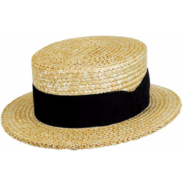 Sennett Straw Boater In Italian Hard Straw