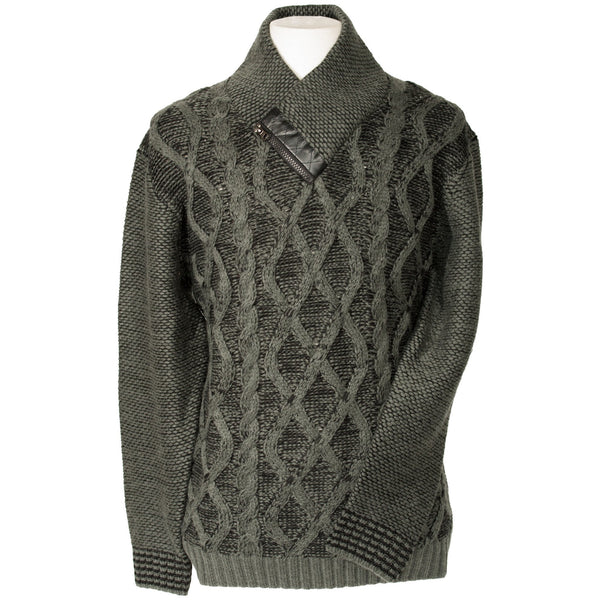 LaVané Shawl Collar Diamond Knit Sweater