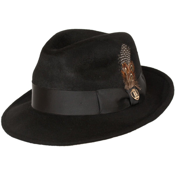Lucious Crushable Wool Felt Classic Brim Fedora by Bruno Capelo