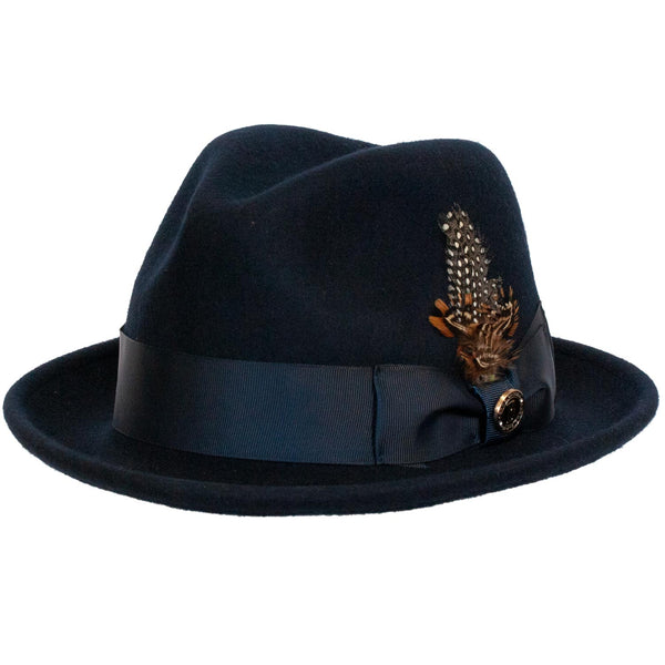 80e9516d4c7e6 Blues Wool Fedora by Bruno Capelo – Levine Hat Co.