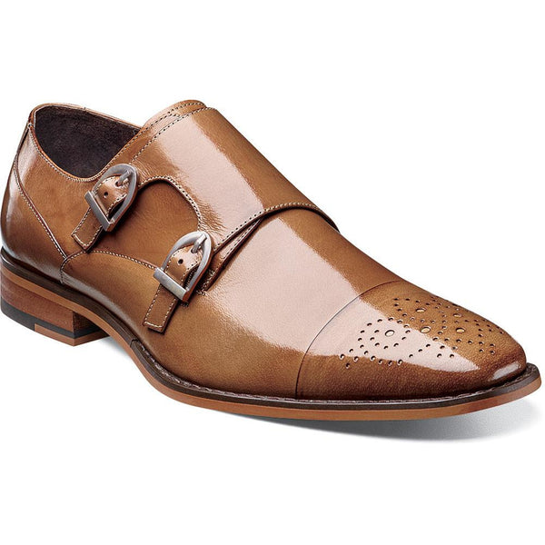Trevor Cap Toe Monk Strap by Stacy Adams Tan / 7, Shoes - STACYADAMS, Levine Hat Co. - 1