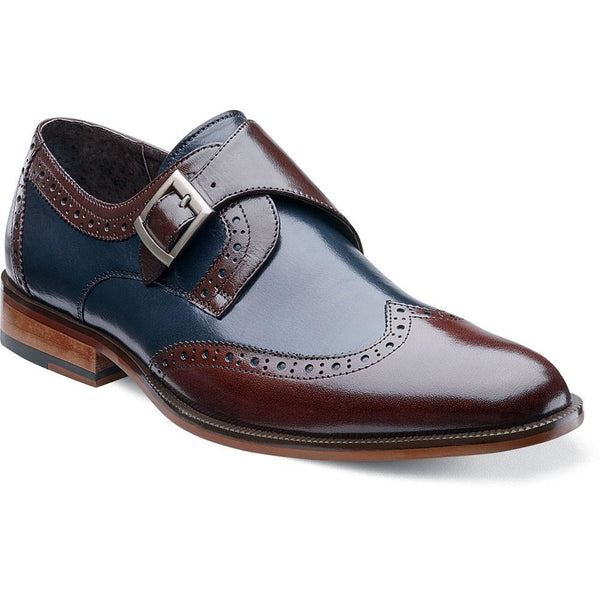 Stratford wing tip monk strap by Stacy Adams BROWN/NAVY / 7, Shoes - STACYADAMS, Levine Hat Co. - 1