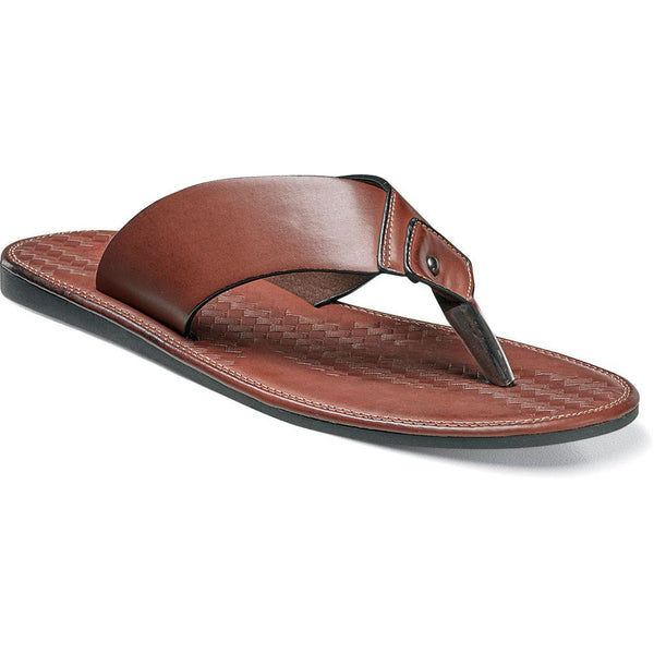 Seascape Thong Sandal by Stacy Adams COGNAC / 7, Shoes - STACYADAMS, Levine Hat Co. - 1