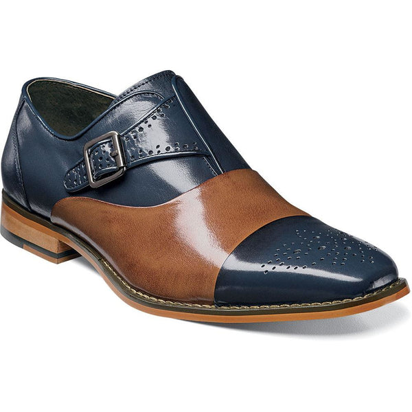 Tipton Cap Toe Monk Strap by Stacy Adams NAVY/TAN / 7, Shoes - STACYADAMS, Levine Hat Co. - 1