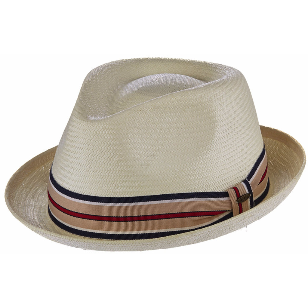 Scala Multi Stripe Toyo Fedora IVORY / L/XL, Hats - SCALA, Levine Hat Co.
