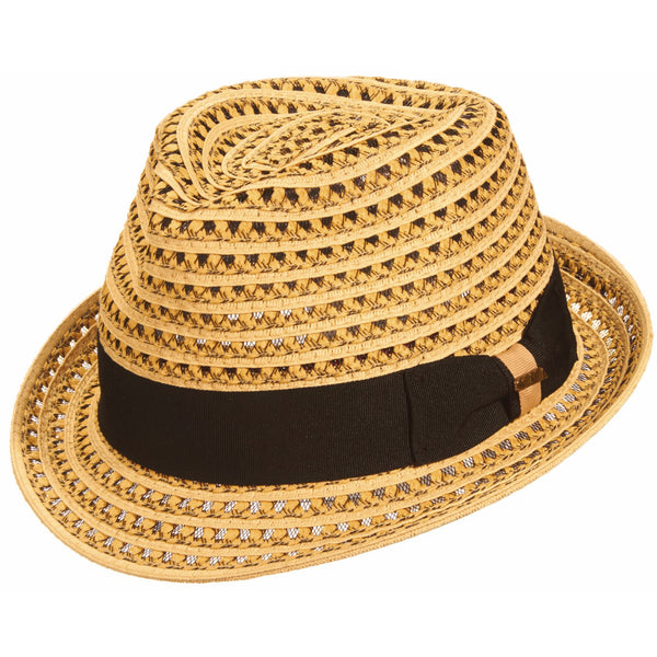 Scala Dominican Multi Weave Straw Fedora NATURAL / L, Hats - SCALA, Levine Hat Co.