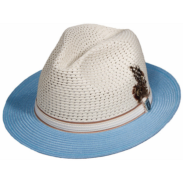 Stacy Adams Milan Straw Fedora LT BLUE / L, Hats - STACYADAMS, Levine Hat Co.