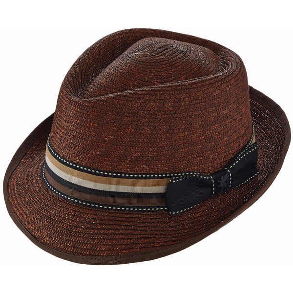 Stacy Adams Wheat Braid Diamond Crown Fedora BROWN / L, Hats - STACYADAMS, Levine Hat Co.