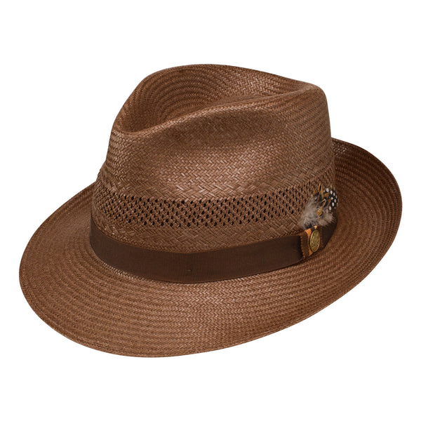 85693047a7275 NATURAL. Back Bay Shantung Straw Fedora by Stetson