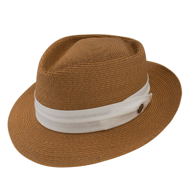Track Day Hemp Straw Fedora by Stetson