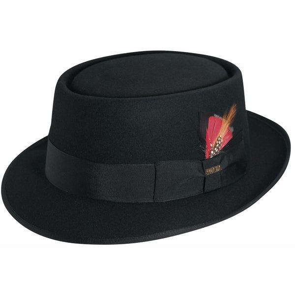 Scala Wool Felt Porkpie BLACK / L, HATS - SCALA, Levine Hat Co. - 1