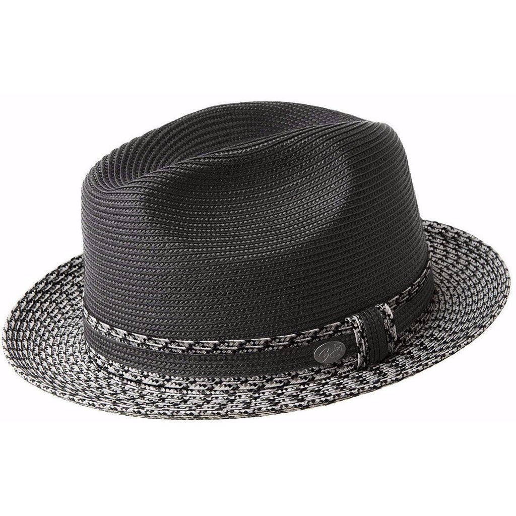 Bailey Mannesroe Braid Straw Fedora BLK/CHARCOAL / S, Hats - BAILEY, Levine Hat Co.