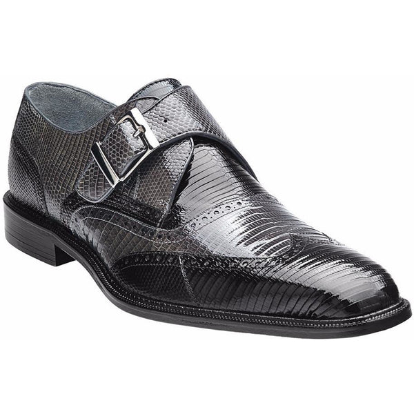 Pasta Genuine Lizard Monkstrap by Belvedere BLACK/GREY / 10, Shoes - BELVEDERE, Levine Hat Co. - 1