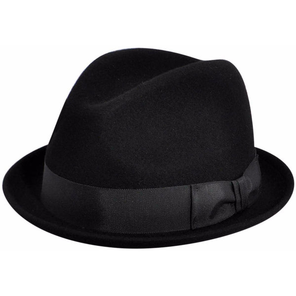 Country Gentleman Floyd Wool Fedora BLACK / L, HATS - COUNTRYGENT, Levine Hat Co. - 1
