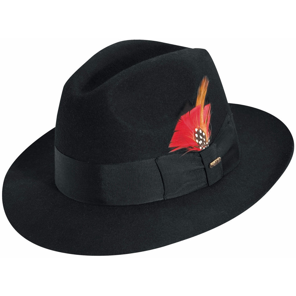 Scala Wool Felt Fedora BLACK / L, HATS - SCALA, Levine Hat Co. - 1