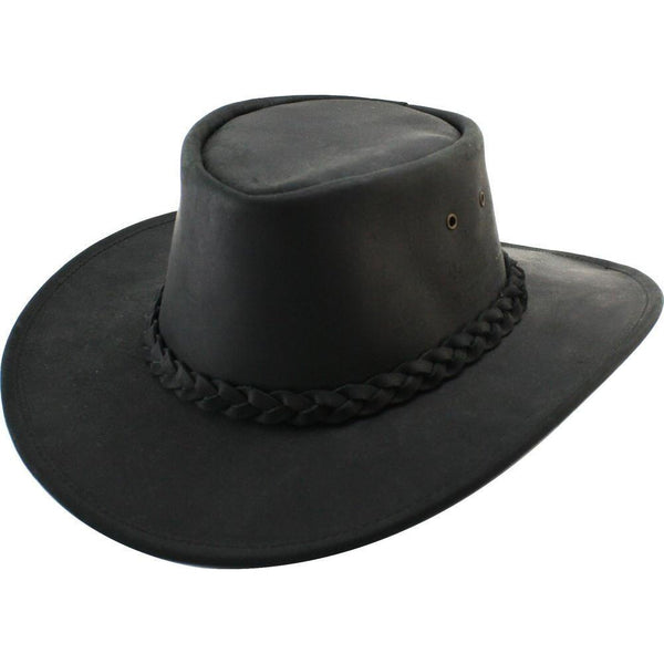 Henschel Dakota Leather Australian Hat BLACK / L, HATS - HENSCHEL, Levine Hat Co.