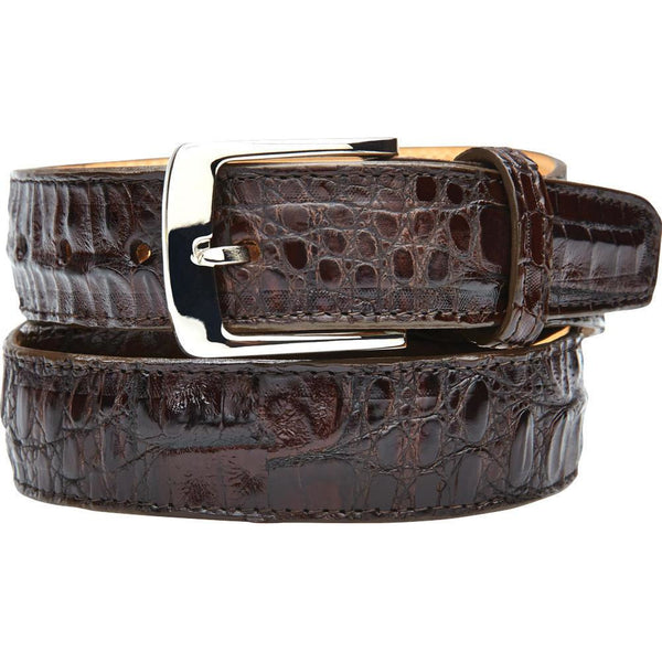 "Belvedere Crocodile Belt Brown / Fits up to 44"", Belt - BELVEDERE, Levine Hat Co. - 1"