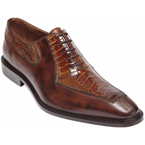 Dino Genuine Ostrich Oxford by Belvedere CAMEL/ALMOND / 10, Shoes - BELVEDERE, Levine Hat Co. - 1