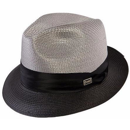 Dobbs Gruu Milan Straw Fedora GREY/BLACK / L, Hats - DOBBS, Levine Hat Co. - 2