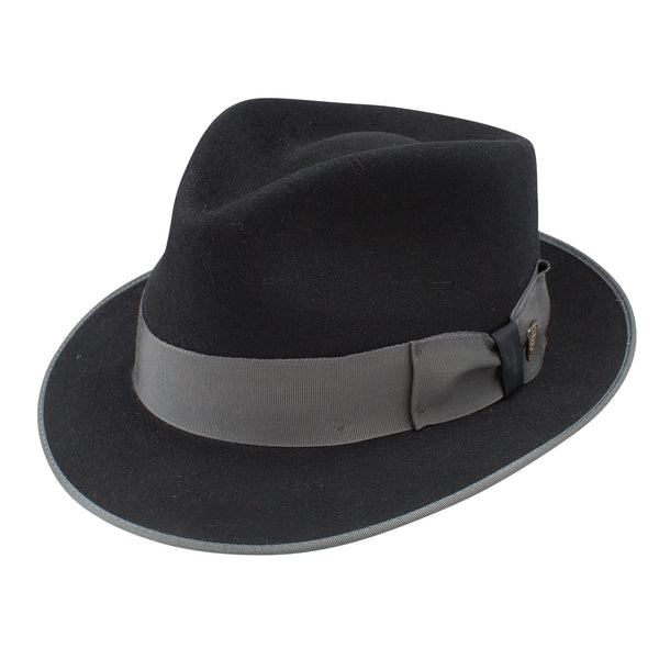 Hashtag Narrow Teardrop Fedora With Bound Edge , Hats - DOBBS, Levine Hat Co. - 1