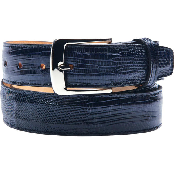 "Belvedere Lizard Belt Fits up to 44"" / Navy, Belt - BELVEDERE, Levine Hat Co. - 1"