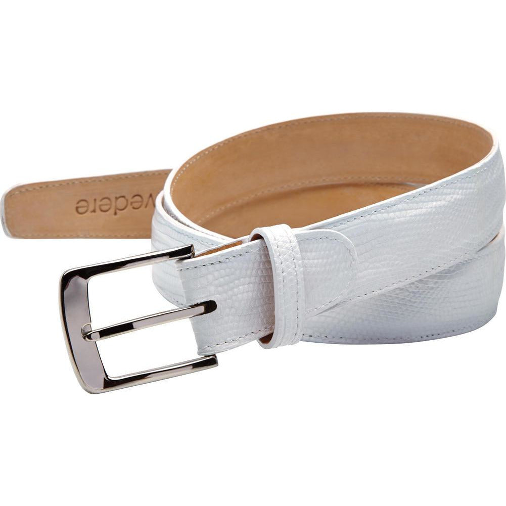 "Belvedere Lizard Belt Fits up to 44"" / White, Belt - BELVEDERE, Levine Hat Co. - 6"