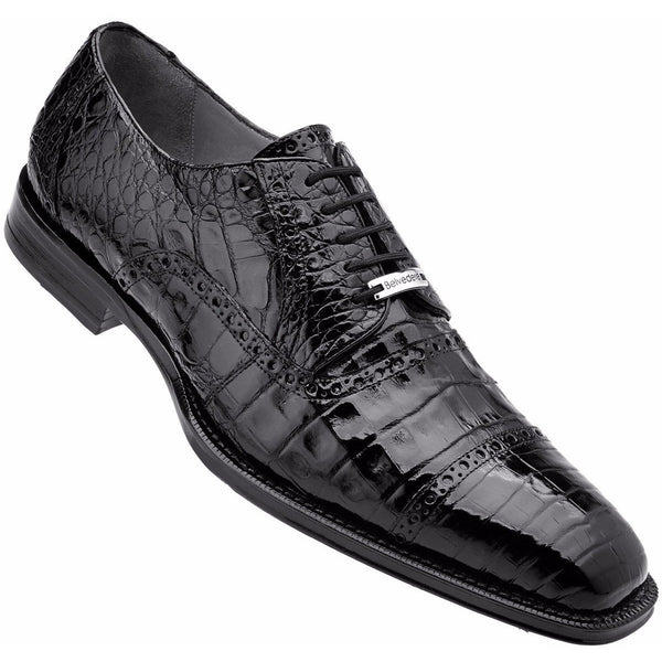 Belvedere Marcello Crocodile Oxford BLACK / 10, Shoes - BELVEDERE, Levine Hat Co. - 1