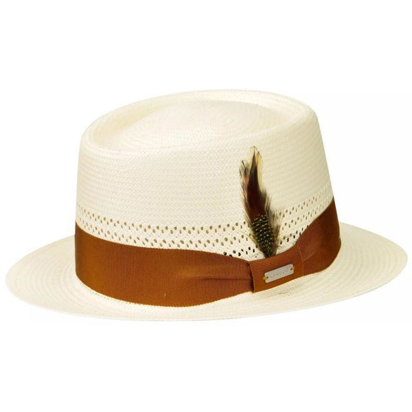 Kangol Lure Oval Braid Straw Porkpie NATURAL / L, Hats - KANGOL, Levine Hat Co. - 1
